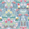Lewis and Irene Fabrics Jolly Spring Gnomes Mirrored Blue