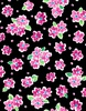 Quilting Treasures Delilah Tossed Floral Black/Fuchsia
