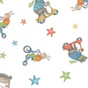 Clothworks Bike Ride Animals White