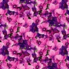 Clothworks Orchid Fancy Packed Floral Fuchsia