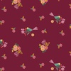 Clothworks Rosewood Floral Birds Wine