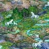 3 Wishes Fabric Celestial Journey Landscape Green