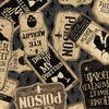 Clothworks Pick Your Poison Sign Collage Dark Grey