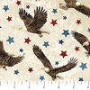 Northcott Stonehenge Stars and Stripes Flannel Eagles Beige