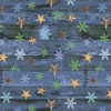 Henry Glass Pine Cone Lodge Flannel Stars on Woodgrain Blue