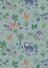 Lewis and Irene Fabrics Kimmeridge Bay Land Dinos Grey/Green