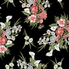 Benartex Magnificent Blooms Bouquet Black