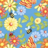 Henry Glass Fabrics Gnome is Where Your Garden Grows Butterflies and Flowers Blue
