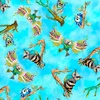 3 Wishes Fabric Go Owl Out Tossed Birds Turquoise