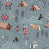 Lewis and Irene Fabrics Viking Adventure Viking Village Blue Grey