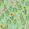 Clothworks Garden Notes Bug Floral Mint
