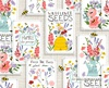3 Wishes Fabric Feed The Bees Seed Patch White