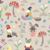 Lewis and Irene Fabrics Jolly Spring Gnomes and Bunnies Dark Cream