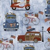 3 Wishes Fabric Patriotic Summer Vehicles Blue