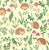 Clothworks Woodland Wander Hedgehogs and Greenery Light Yellow