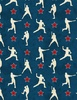 Wilmington Prints 7th Inning Stretch Player Silhouettes Blue