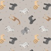 Lewis and Irene Fabrics Small Things World Animals African Light Grey