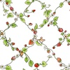 Clothworks Garden Party Strawberry Vines White