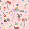 Lewis and Irene Fabrics Jolly Spring Gnomes and Bunnies Pink
