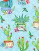 Wilmington Prints Humming Along Potted Cactus Blue