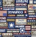 Quilting Treasures All American Patriot Text Navy