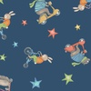 Clothworks Bike Ride Animals Navy