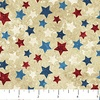 Northcott Stongehenge Stars and Stripes Multicolored Stars on Beige