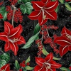 Hoffman Fabrics Winter Blooms Lily Onyx