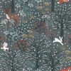 Lewis and Irene Fabrics Winter in Bluebell Wood Scenic Dark Grey