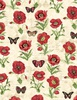 Wilmington Prints Harlequin Poppies Poppies and Butterflies Cream