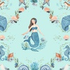Clothworks By The Seashore Damask Light Aqua
