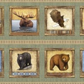 Quilting Treasures Timberland Trail Animal Picture Patches Panel Sage