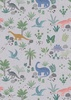 Lewis and Irene Fabrics Kimmeridge Bay Land Dinos Grey