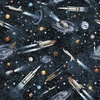 Quilting Treasures Intergalactic Space Ships Black