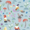 Lewis and Irene Fabrics Jolly Spring Gnomes and Bunnies Blue