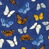 Clothworks Sunny Fields Butterflies Royal