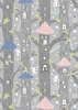 Lewis and Irene Fabrics Fairy Lights Fairy Houses Grey