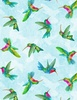 Wilmington Prints Humming Along Hummingbirds Blue