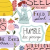 3 Wishes Fabric Feed The Bees Garden Words White