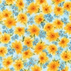 Robert Kaufman Fabrics Gardenside Path Packed Flowers Sky Blue