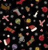 Maywood Studio Most Wonderful Time Flannel Winter Motifs Black
