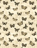 Wilmington Prints Harlequin Poppies Butterflies Cream