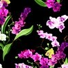 Clothworks Orchid Fancy Bouquets Black