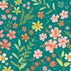 Clothworks Garden Notes Meadow Teal