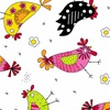 Andover Fabrics The Coop Chicken Dance White