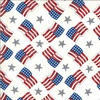 Moda America the Beautiful Flags and Stars Distressed White