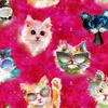 3 Wishes Fabric Good Kitty Faces Pink