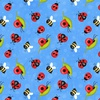 Henry Glass Fabrics Gnome is Where Your Garden Grows Ladybugs Blue