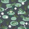 Clothworks Woodland Wander Frogs Dark Grey
