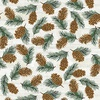 Henry Glass Pine Cone Lodge Flannel Pinecones Beige